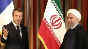 إيمانويل ماكرون وحسن روحاني في لقاء في الأمم المتحدة 17 سبتمبر 2017