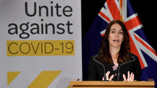 New Zealand PM Jacinda Ardern speaks to the media during a press conference one day before the country went into Covid-19 lockdown, at Parliament in Wellington on March 24, 2020.