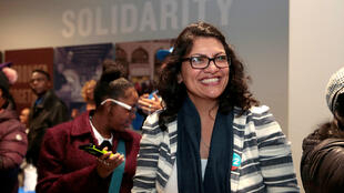 La candidata demócrata al Congreso de los Estados Unidos, Rashida Tlaib, en un mitin de campaña en un sindicato en Detroit, Michigan, Estados Unidos, el 4 de noviembre de 2018.