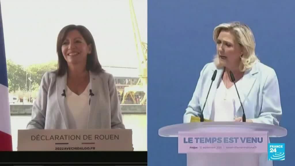 2021-09-12 22:04 Marine Le Pen y Anne Hidalgo confirmaron su candidatura a las presidenciales de Francia