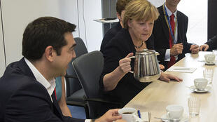 Le premier ministre grec et la chancelière allemande, le 7 juillet à Bruxelles