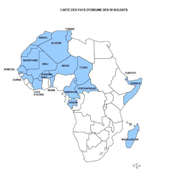 La carte des pays d'origine des 50 soldats africains dont le nom et la biographie ont été diffusés aux maires de France