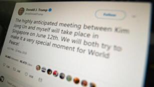 Vista de un tuit de Donald Trump del 10 de mayo de 2018, cuando anunció una histórica reunión con el líder norcoreano Kim Jong-un en Singapur.