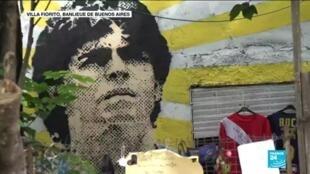 Une fresque en hommage à Diego Maradona, dans le quartier où il a grandi, à Villa Fiorito.