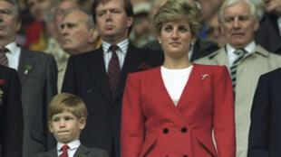 La princesse Diana et le prince Harry lors du match pays de Galles-Australie pendant la coupe du monde de rugby de 1991, à Cardiff au pays de Galles.