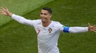 كريستيانو سجل هدف الفوز للبرتغال على المغرب. 2018/06/20