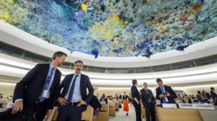 Les délégués du Conseil des droits de l'Homme de l'ONU peu avant la session extraordinaire du 18 mai 2018, à Genève.