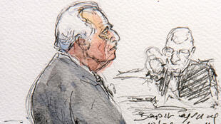 An artist's impression of Strauss-Kahn giving evidence in the Lille court