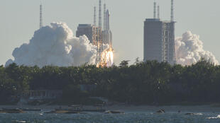 This photo taken on May 5 shows a Long March 5B rocket lifting off from the Wenchang launch site on China's southern Hainan island