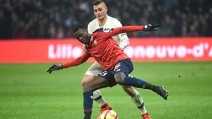 L'attaquant de Lille Nicolas Pépé buteur lors de la victoire 5-1 sur le PSG en 32e journée de L1 à Villeneuve-d'Ascq le 14 avril 2019