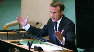 Le président français Emmanuel Macron à la tribune de l'ONU.