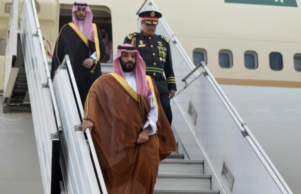 El príncipe heredero de Arabia Saudita, Mohammed bin Salman, llega a Buenos Aires, Argentina, el 28 de noviembre de 2018.