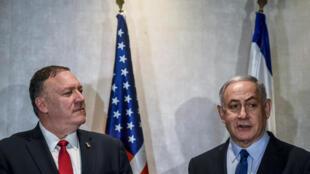 US Secretary of State Mike Pompeo meets Israeli Prime Minister Benjamin Netanyahu in Lisbon in December 2019