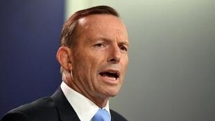 Abbott speaks during a press conference in Sydney on February 6.