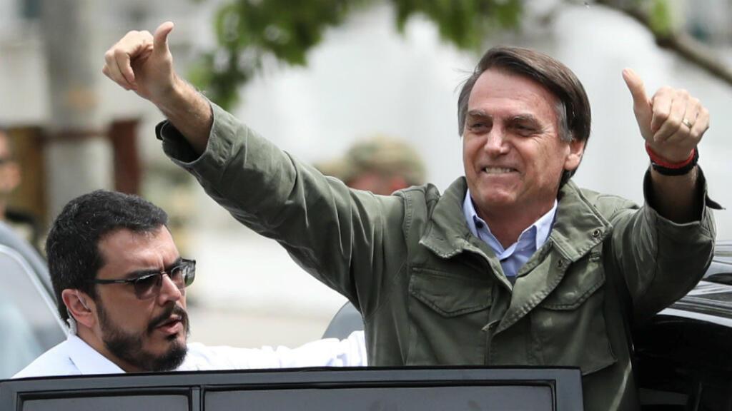 Jair Bolsonaro después de depositar su voto en Río de Janeiro, Brasil, el 28 de octubre de 2018.