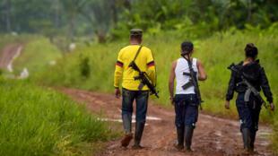 Líder guerrillero disidente, conocido con el nombre de Aldemar (izq.), miembro del Primer Frente de las Fuerzas Armadas Revolucionarias de Colombia (FARC) y otros rebeldes, patrullan la jungla a lo largo del río Inirida en el departamento de Guaviare, Colombia, el 26 de septiembre de 2017.