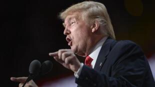 Donald Trump lors de son discours d'investiture comme candidat républicain, le 21 juillet 2016.