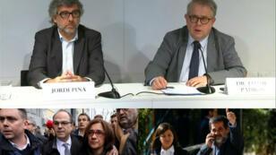 Arriba, Jordi Pina, abogado de Jordi Turull (abajo a la izquierda) y Jordi Sánchez (abajo a la derecha), y Jaume Padrós, médico de ambos, durante  la rueda de prensa en la que anunciaron la huelga de hambre de los políticos el primero de diciembre de 2018.