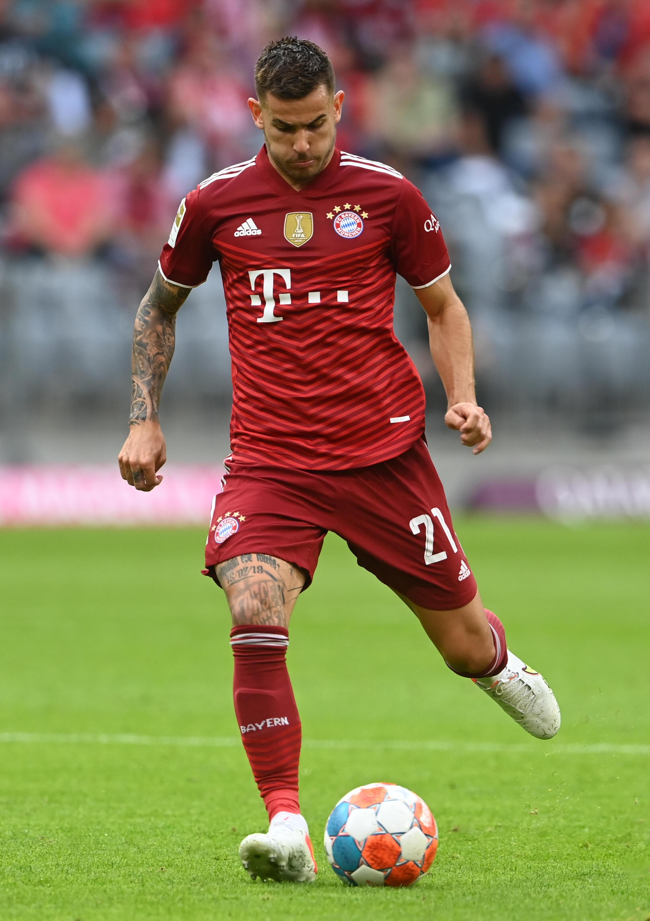 French Bayern Munich defender Lucas Hernandez during the Bundesliga meeting between Bayern and Eintracht Frankfurt in Munich on October 3, 2021