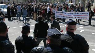 Manifestation à Ajaccio contre le meeting de Marine Le Pen, le 8 avril 2017.