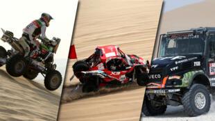 Ignacio Casale, Juan Carlos Uribe y Federico Villagra en el Rally Dakar. Enero de 2018