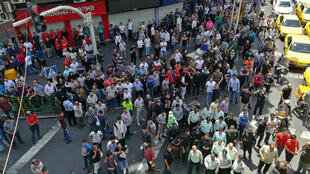 Manifestation des commerçants à proximité du Grand Bazar à Téhéran, le 25 juin 2018.