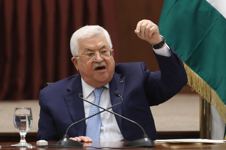 الرئيس الفلسطيني محمود عباس خلال كلمة له في 19 أيار/مايو 2020 في مقره في رام الله