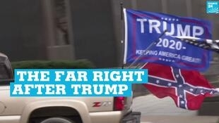 A Donald Trump flag at a pro-gun rally in Richmond, Virginia, on January 18, 2021.
