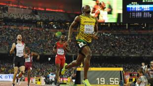 Usain Bolt, jeudi 27 août 2015, remporte le 200 m lors des Mondiaux d'athlétisme à Pékin.
