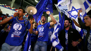 """Des partisans de la liste de centre-gauche """"Union sioniste"""" dans leur QG à Tel Aviv, le 17 mars."""