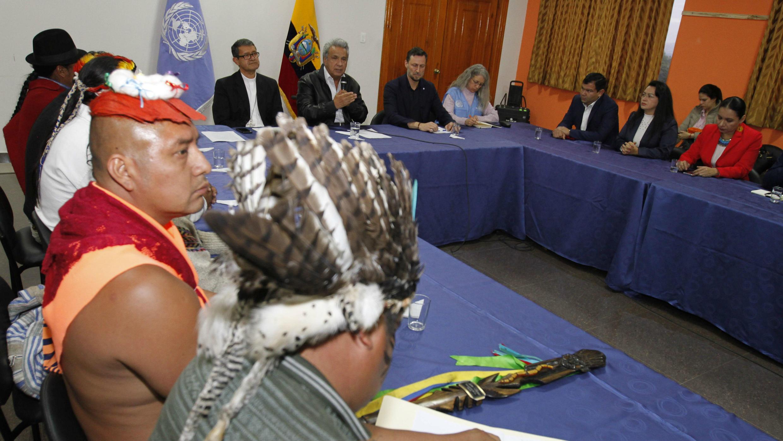 El Gobierno y los grupos indígenas participaron de una ronda de negociaciones en Quito, Ecuador, el 13 de octubre de 2019.