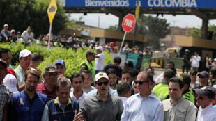 El senador republicano Marco Rubio en la ciudad colombiana de Cúcuta, donde se encuentra la ayuda humanitaria para Venezuela, enviada por Estados Unidos. 17 de febrero de 2019.