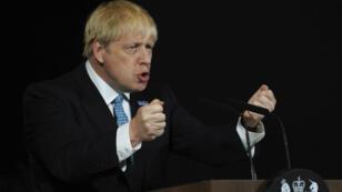 Le Premier ministre britannique Boris Johnson au cours d'un discours au Musée des sciences et de l'industrie de Manchester, le 27 juillet 2019.