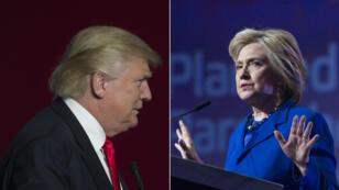 Le candidat républicain Donald Trump et sa très probable adversaire démocrate Hillary Clinton.