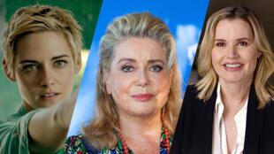 La présidente du jury du 45efestival de Deauville, Catherine Deneuve, entourée des actrices Kristen Stewart et Geena Davis.