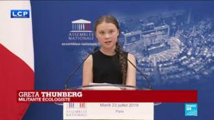 La militante suédoise Greta Thunberg après avoir reçu le prix Liberté, le 21 juillet 2019 à Caen.