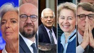 De gauche à droite: Christine Lagarde, Charles Michel, Josep Borrell, Ursula von der Leyen et David Sassoli.