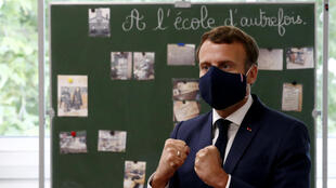 French President Emmanuel Macron at a school in Poissy, near Paris, on May 5, 2020.