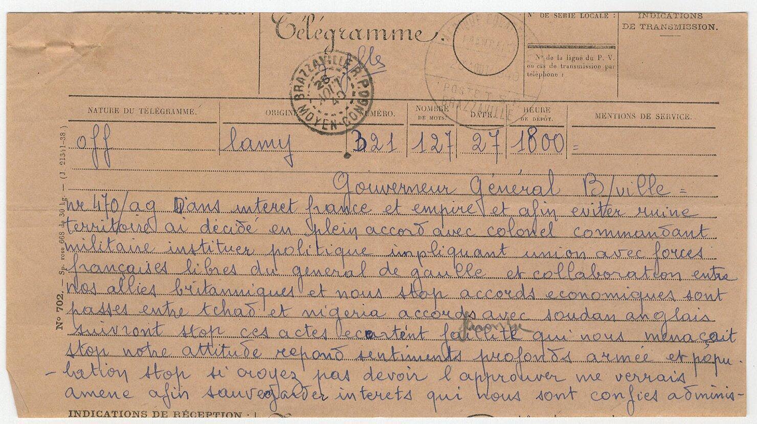 Le télégramme officiel de ralliement du Tchad à la France libre, signé par Félix Éboué et le colonel Marchand, le 26 août 1940.