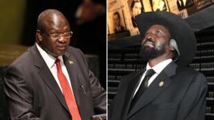 Riek Machar (à gauche) et Salva Kiir (à droite)