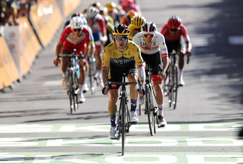 Team Jumbo-Visma rider Primoz Roglic of Slovenia wins the stage ahead of UAE Team Emirates rider Tadej Pogacar of Slovenia.