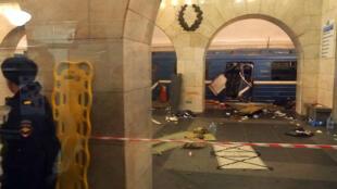 Le métro de Saint-Pétersbourg visé par une explosion, le 3 avril 2017.