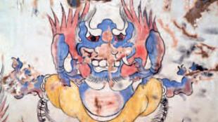 """Le """"monstre bleu"""" découvert sur le mur d'un tombeau."""
