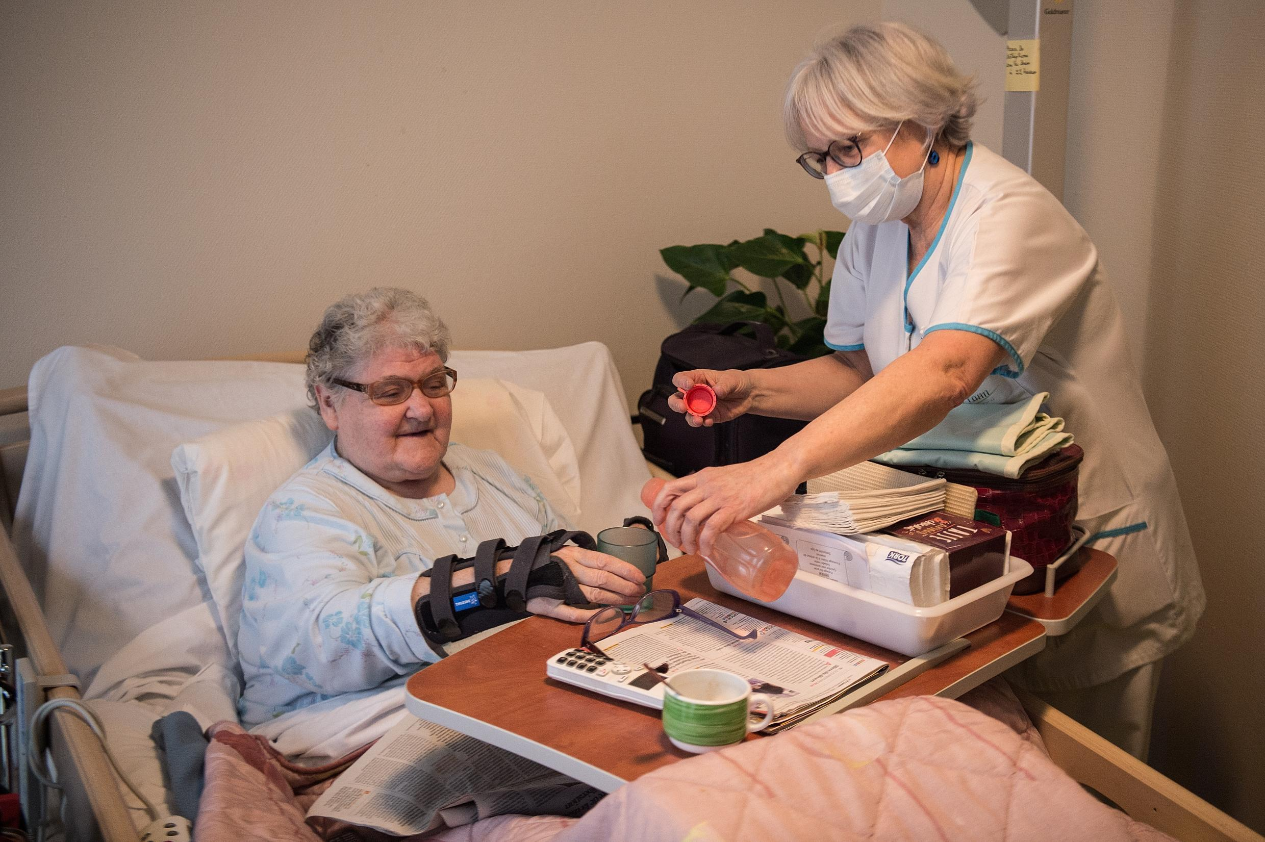 A nurse wearing a surgical mask at a nursing home in Brest, Brittany.