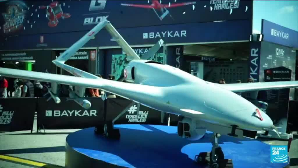 One of Turkey's drones, a national pride, during Istanbul's 2021 Teknofest.