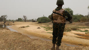 A Nigerian soldier on patrol in the restive northeastern state of Borno, bordering Chad and Niger.