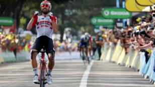 Le Belge Thomas De Gendt a remporté la 8e étape du Tour de France devant les Français Thibault Pinot et Julian Alaphilippe, le 13 juillet 2019.