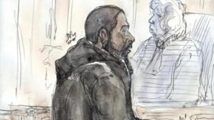 Dibujo que representa al yihadista Peter Chérif durante su juicio por sospechas de terrorismo en 2011.