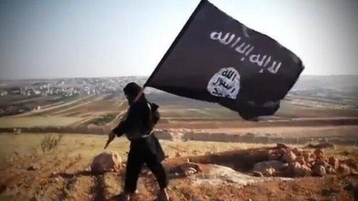 """أحد الجهاديين حاملا راية تنظيم """"الدولة الإسلامية"""""""