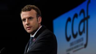 Emmanuel Macron, le 30 janvier 2018, au dîner annuel du Conseil de coordination des organisations arméniennes de France.